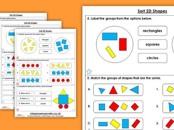 Year 1 Sort 2D Shapes Autumn Block 3 Maths Homework Extension