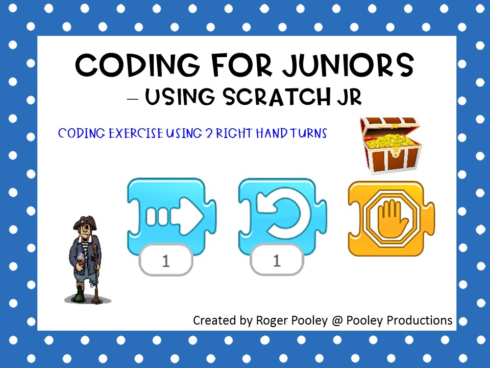 Coding for Juniors - Using Scratch Jr, making right hand turns, answer key, teacher notes