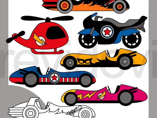Superhero transportation clip art - race cars, helicopter, motorcycle clipart