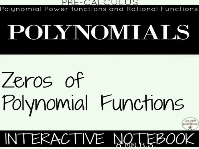 Zeros of Polynomials Color Coded Interactive Notebook