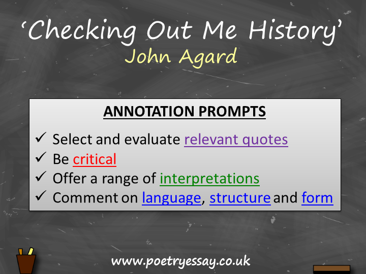 John Agard – 'Checking Out Me History' – Annotation / Planning Table / Questions / Booklet