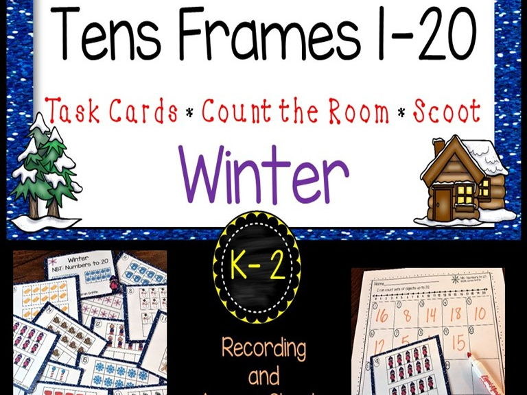 Tens Frames - Numbers to 20 - Winter Task Cards Math Center