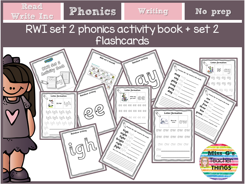 Reception / Year 1 RWI set 2 Phonics Activity Book + Set 2 flashcards