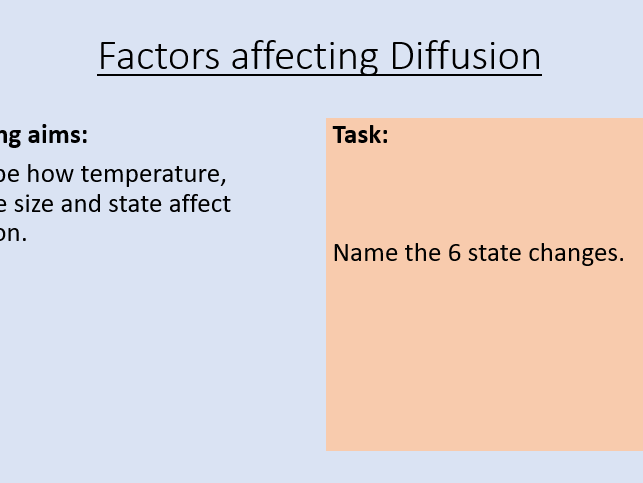 KS3 Factors Affecting Diffusion
