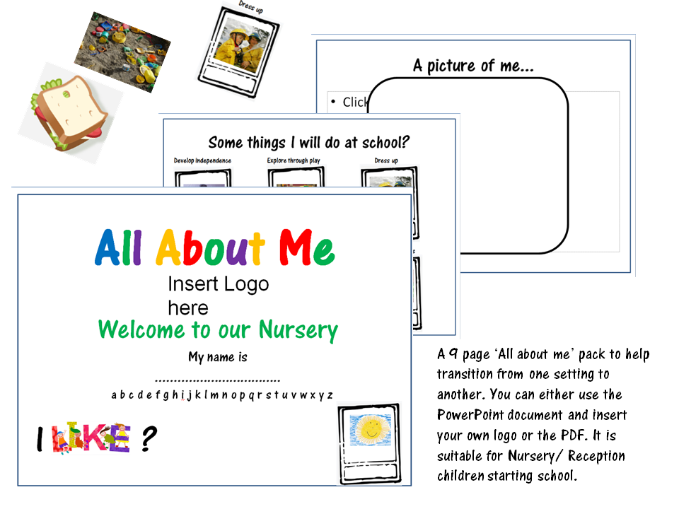 All about me transition pack for Nursery/ Reception introduction/ first school day