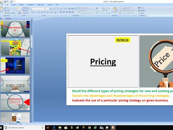 AQA GCSE Business (9-1) 3.5.4 The elements of the marketing mix - pricing strategies