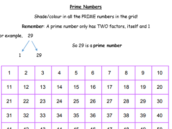 Prime Numbers 1-100 shade in