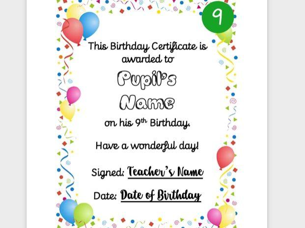Fully Personalised Birthday Certificate