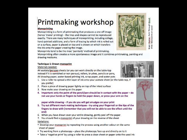 Printmaking workshop - monoprinting and polyblock printing