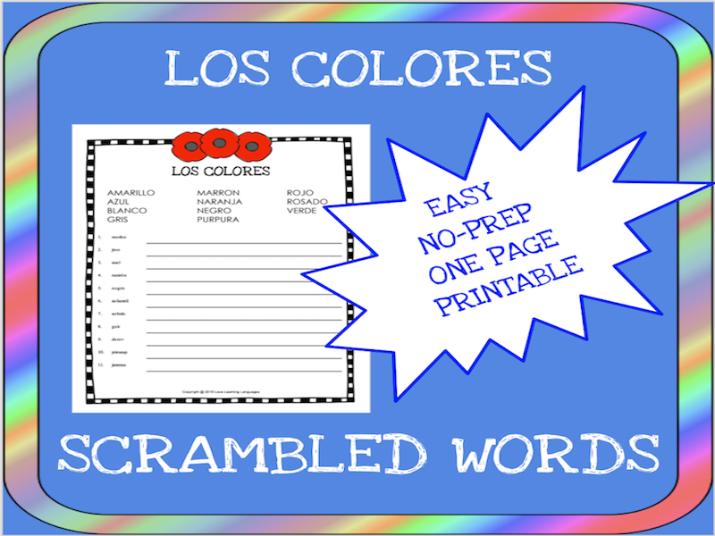 Spanish colors scrambled words worksheet - Los colores