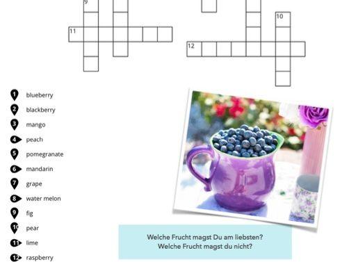 GCSE Deutsch: 2 crosswords German  - Topic: Fruits - Früchte, with speaking activities, DAF Rätsel