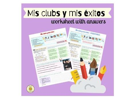 Mis clubs y mis éxitos. Ficha con soluciones. Spanish GCSE. Extracurricular activities.  Answers