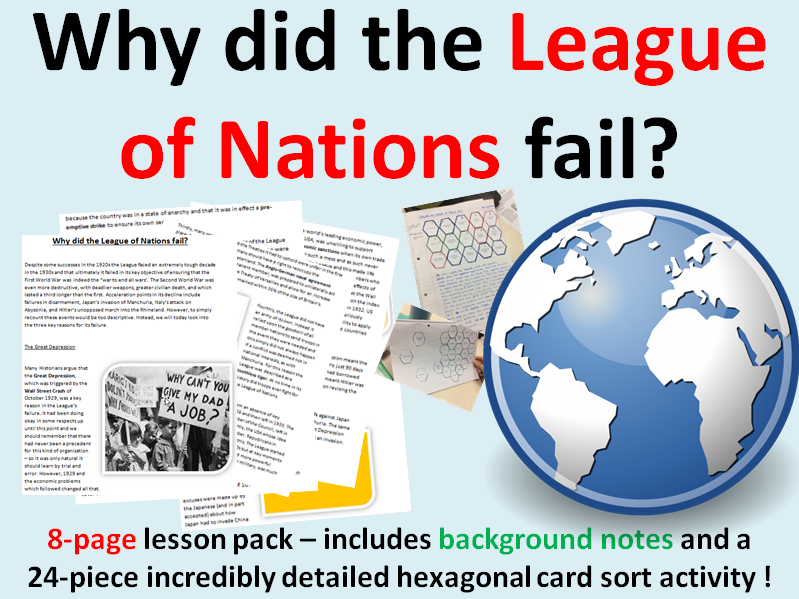 League of Nations reasons for failure - 8 page lesson pack
