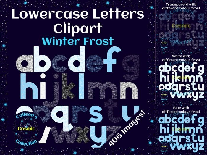 Frost Winter Lowercase Letters Clipart