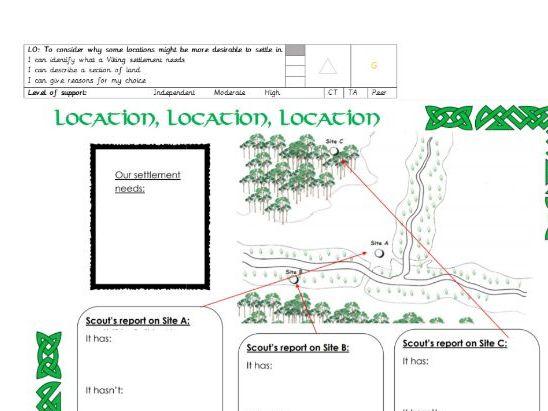Viking settlements task/ worksheet