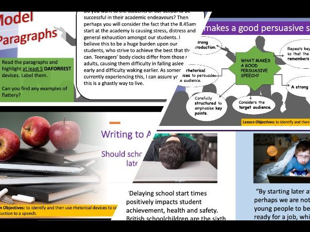 Writing to Argue: Should schools open later? - KS3 PowerPoint, model paragraphs and worksheet
