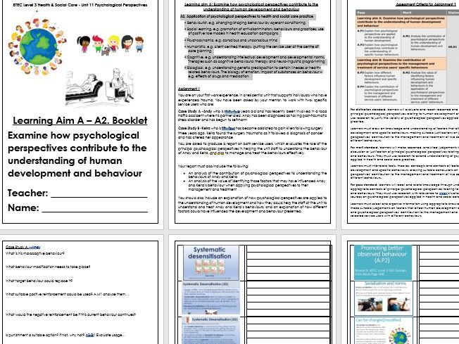 BTEC Level 3 Health and Social Care Unit 11 Psychological Perspective A2 and A3 spec reources