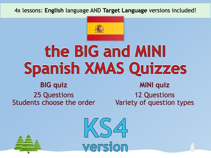 The BIG & MINI Spanish Christmas Quiz (KS4/GCSE version)