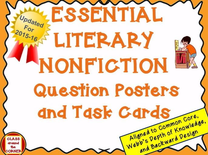 58 ESSENTIAL LITERARY NONFICTION QUESTION POSTERS AND TASK CARDS