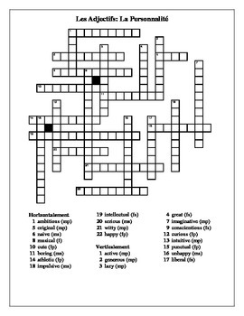 Adjectifs (French adjectives) Personnalité crossword