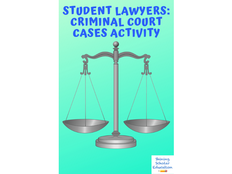 Student Lawyers: Criminal Trial Court Cases with PowerPoint CCSS.ELA-LITERACY.W.8.1