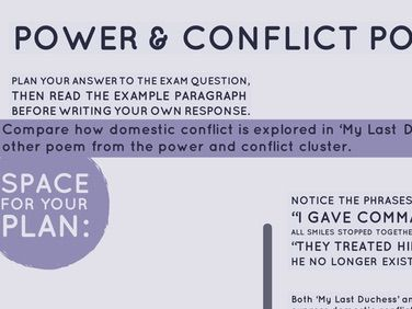 Home School: Power & Conflict Poetry: Domestic Conflict Essay Question & Response