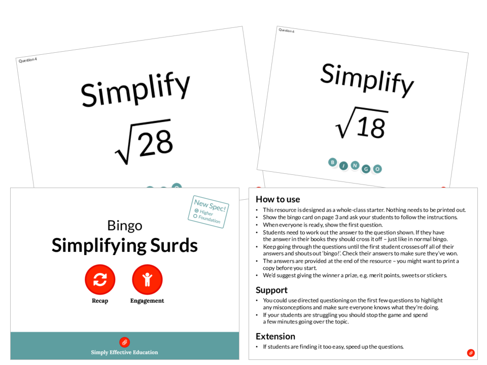 Surds Simplify And Add By Teachbynumbers Teaching Resources Tes