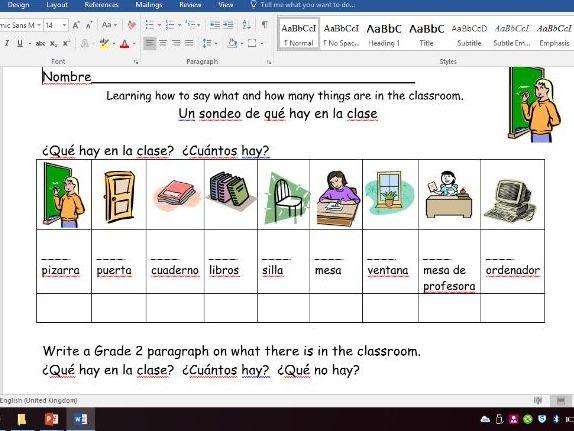 KS3 Spanish School equipment - Que hay en la clase Lesson 1 and 2