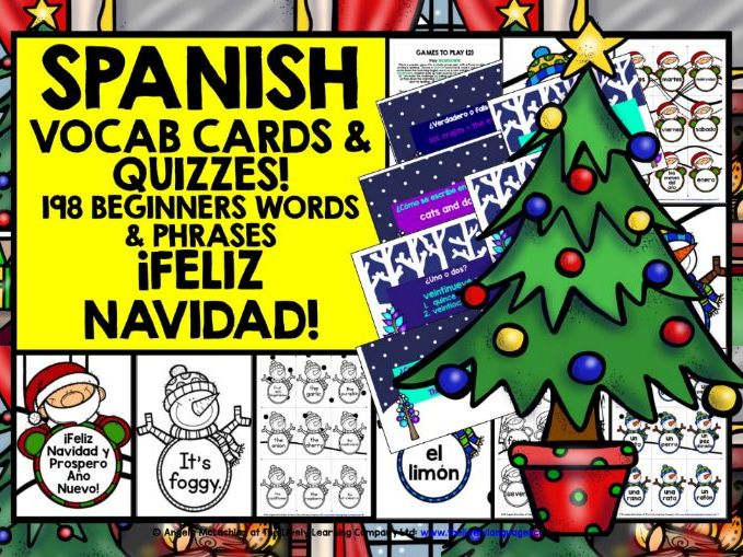 Christmas Spanish.Christmas Spanish Vocabulary Cards Quizzes