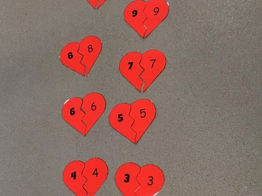 Number matching Valentine's style