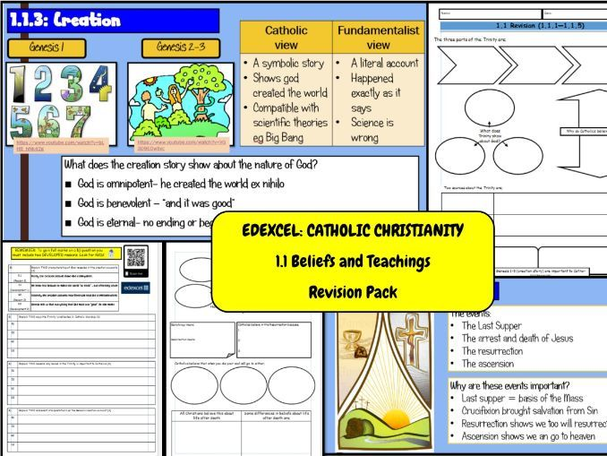 Edexcel Catholic Christianity Revision: 1.1 Beliefs and Teachings Revision Pack