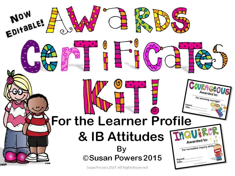 editable awards certificates for the ib pyp learner profile and
