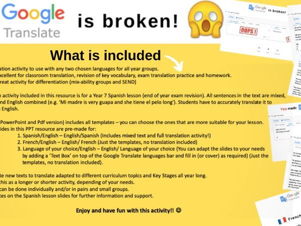 Google Translate is broken! - TRANSLATION ACTIVITY-MFL