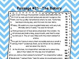3rd Grade Fluency Passages with Comprehension Questions Set #1-33