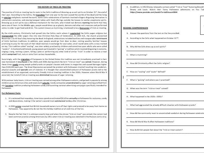 Halloween - The history of trick-or-treating - Reading Comprehension/ Vocabulary Worksheet