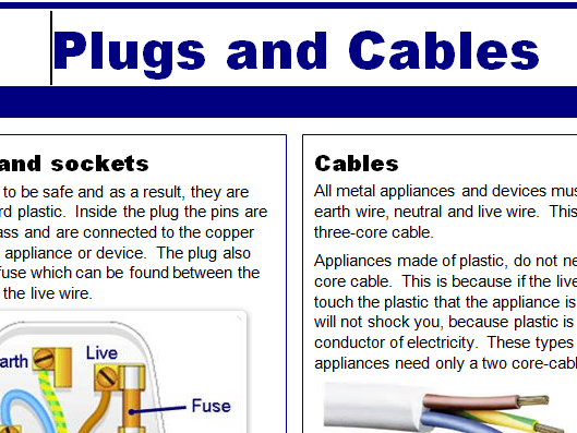 P5.2 Electricity Cables and Plugs (2018 Exam) - Literacy and Comprehension