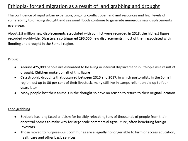 Ethiopian Forced Migration- GCSE/A Level Geography case study