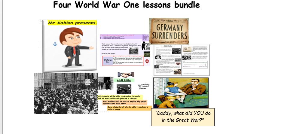 Four World War One lessons bundle