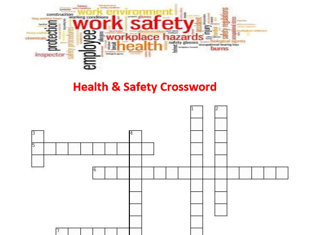 Health Safety Crossword Puzzle With Answers By Resource Creator
