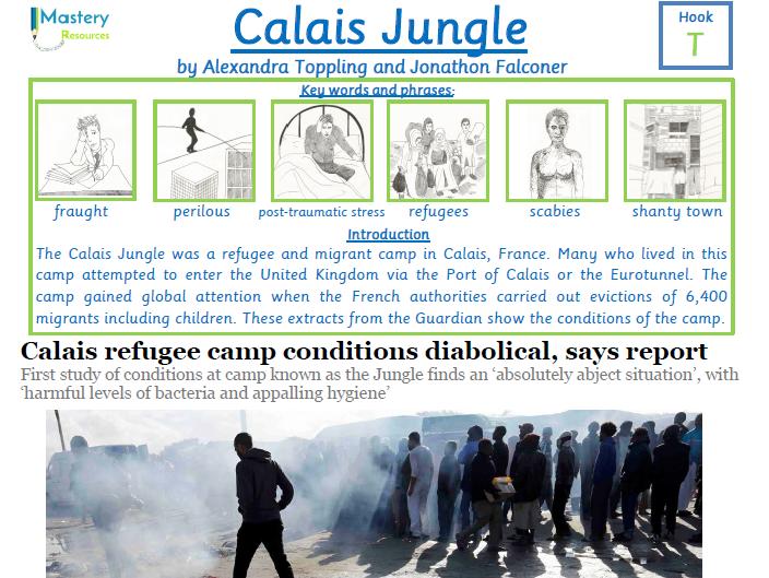 Calais refugee camp Guardian newspaper report comprehension KS2