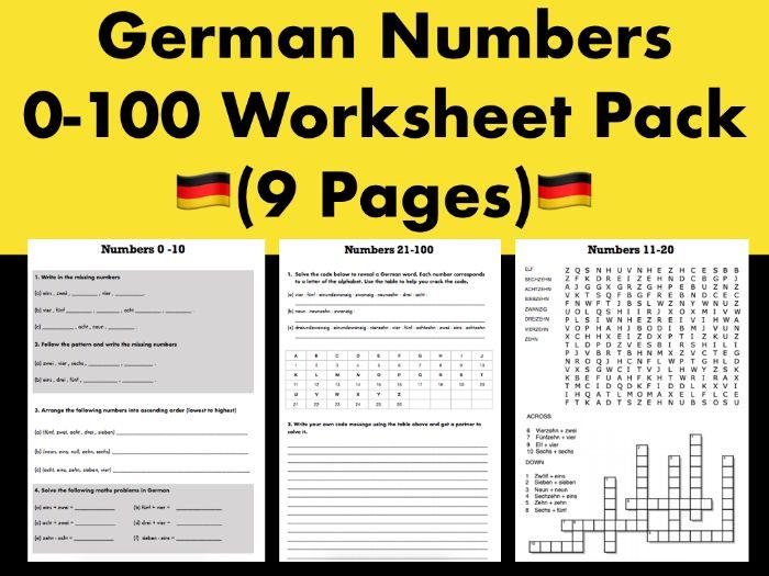 German Numbers 0-100 Worksheet Pack (9 Pages)
