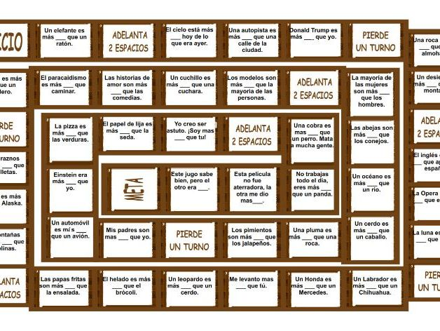 Comparative Adjectives Spanish Board Game