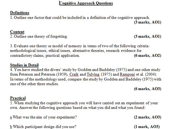 Cognitive Approach Assessment