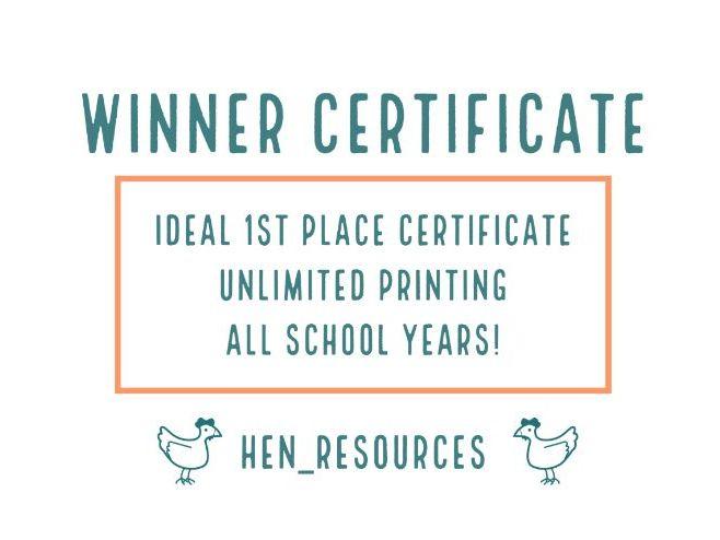 Winner/1st place certificate