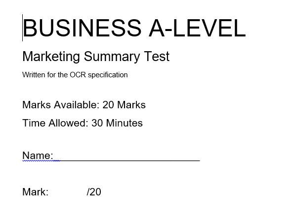 Marketing A-Level Business OCR
