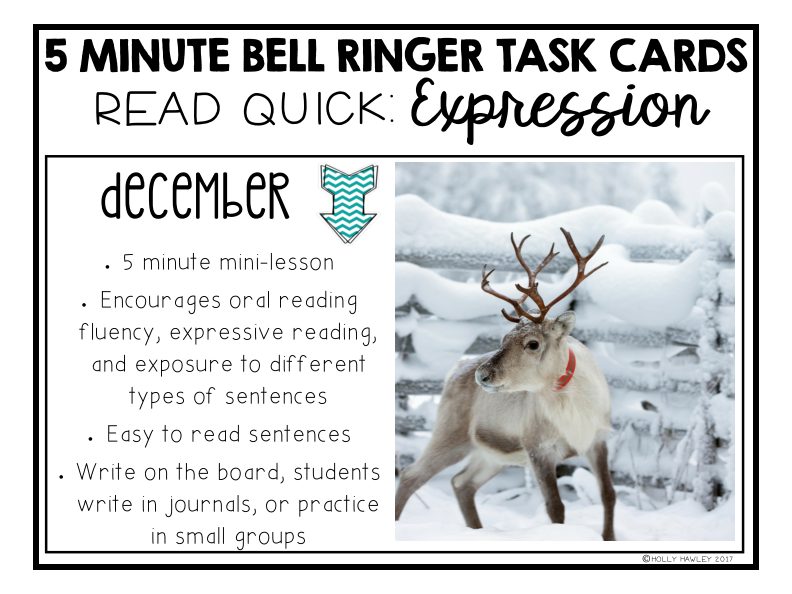 Read Quick Bell Ringer Task Cards-DECEMBER