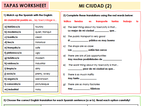 SPANISH TAPAS WORKSHEET WITH ANSWERS - Mi ciudad [2]