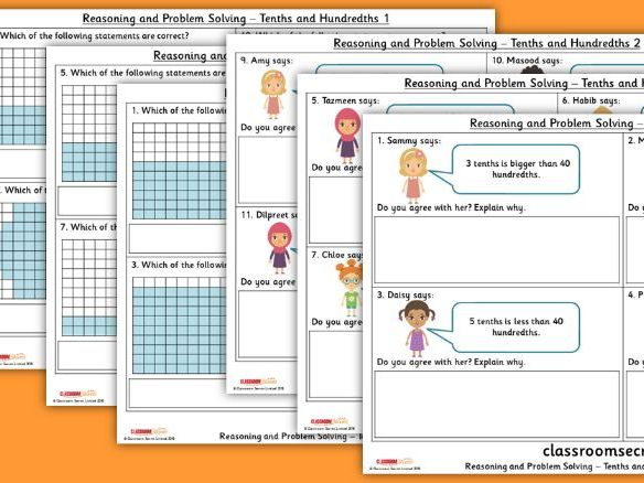 FREE Year 4 Tenths and Hundredths Spring Block 4 Reasoning and Problem Solving Pack