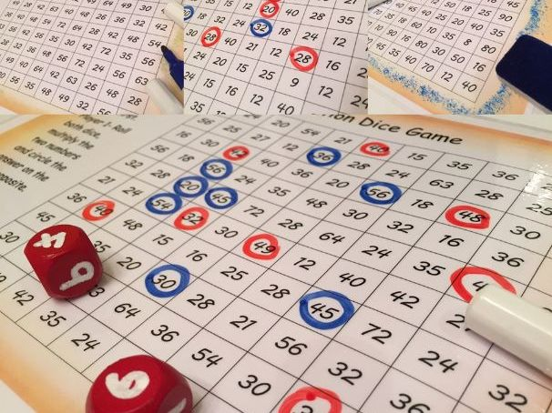 Multiplication games, just add dice. 5 in pack.