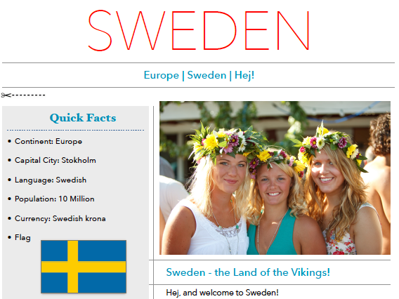 Discover Sweden - Printable Worksheet
